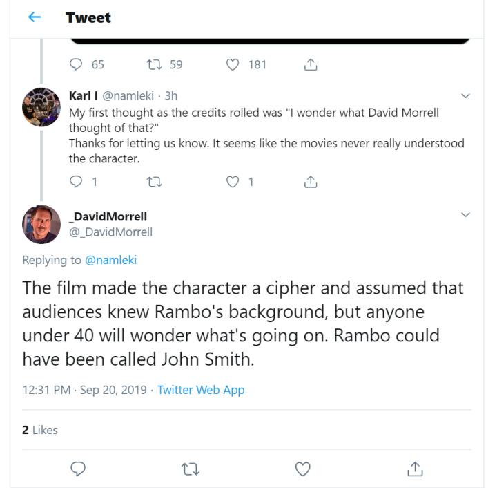 David morrel Tweet about last blood